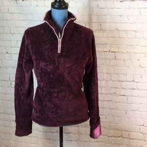 The North Face fuzzy purple pullover w mitten cuff